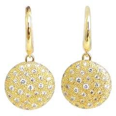 Garavelli 18 Karat Yellow Gold White Diamond Garavelli Earrings
