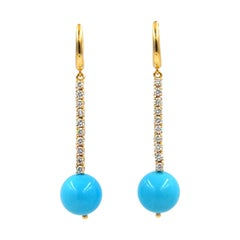 Garavelli 18 Karat Yellow Gold White Diamonds Turquoise Long Earrings