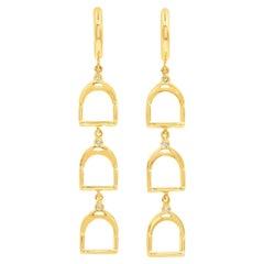 Garavelli 18 Kt Yellow Gold Diamonds Stirrups Collection Dangling Earrings