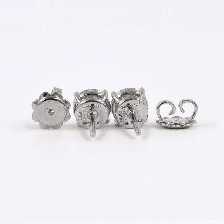 Women's Garavelli 18 Karat White Gold Diamonds Stud Earrings For Sale