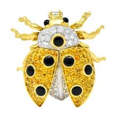 Garavelli 4.80 Carat Yellow Sapphire Diamond Enamel 18 Karat Gold Ladybug Brooch