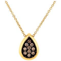 Garavelli Drop Pendant in 18 Karat Gold with Brown Diamonds