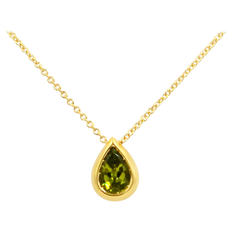 Garavelli Drop Pendant in 18 Karat Gold with Peridot