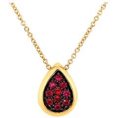 Garavelli Drop Pendant in 18 Karat Gold with Rubies