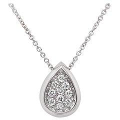 Garavelli Drop Pendant in 18 Karat Gold with White Diamonds