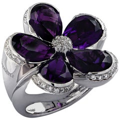 Garavelli Italy Amethyst and Diamond Flower Cocktail Ring