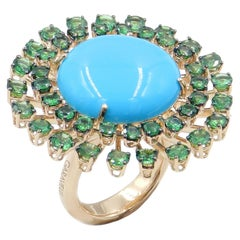 Garavelli Large Disk Ring in 18 Karat Gold with Turquoise and Green Tzavorite