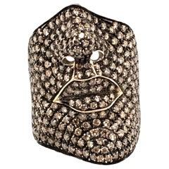 Garavelli Pave Set Brown Diamond Face Ring