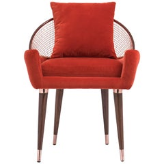 Garbo Dining Chair in Red Velvet