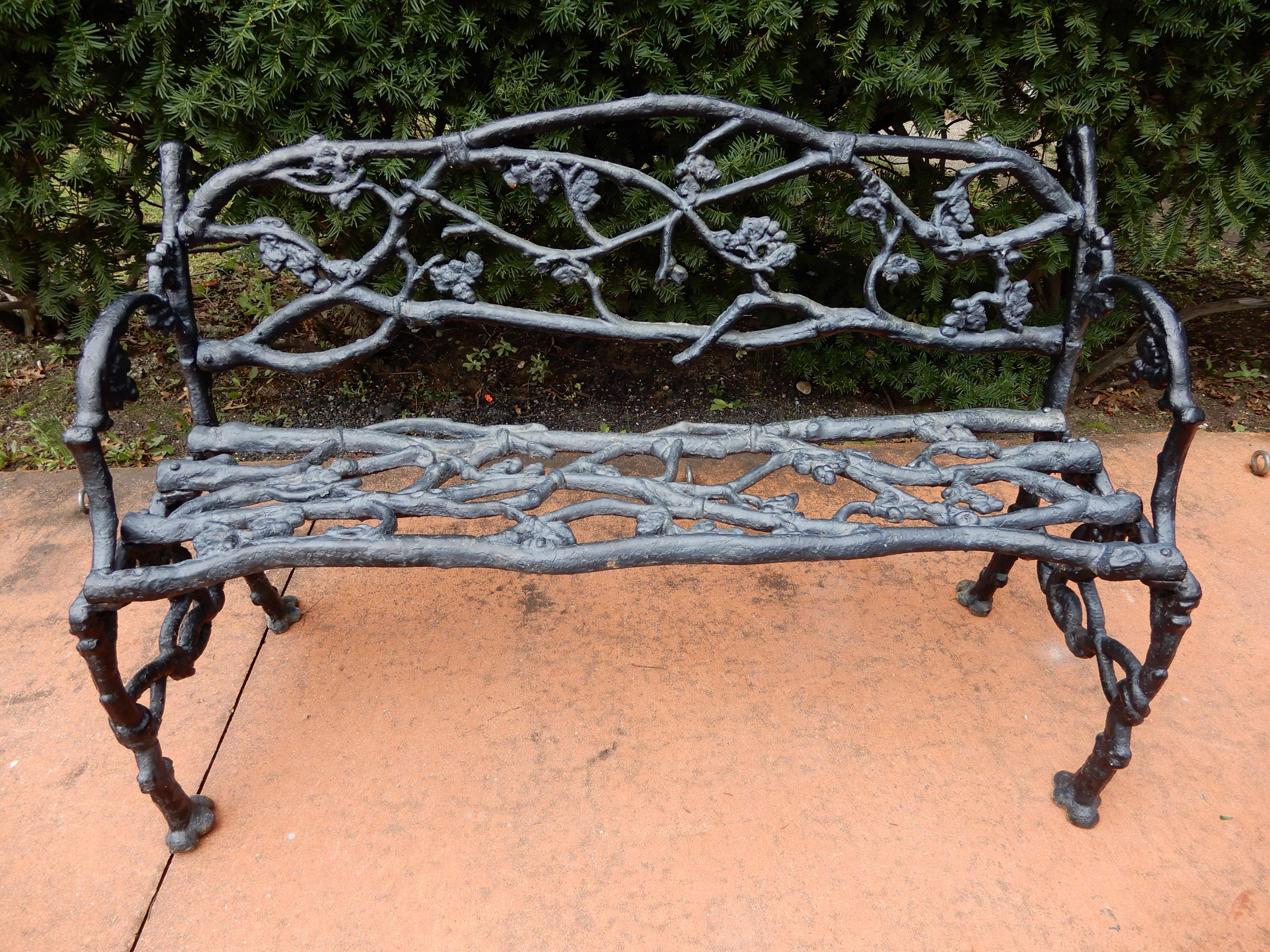 Garden Antique Rustic Or Twig Cast Iron Bench U0026 Chair