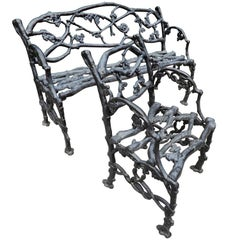 Garden Antique Rustic or Twig Cast Iron Bench & Chair