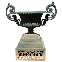 Garden Beauty of an Urn with Gorgeous Verdigris Patina and Fancy Handles