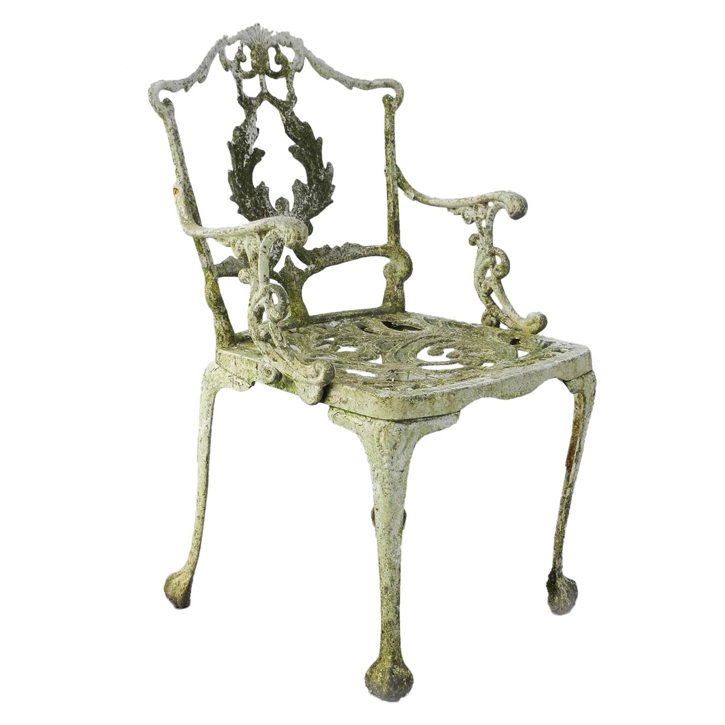 Garden Chair Weathered Cast Iron Patio Armchair Use or Paint