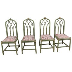 Garden Chairs Bamboo Cane Green Italian Design, 1970