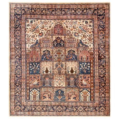 Garden Design Antique Persian Khorassan Carpet. Size: 8 ft 8 in x 9 ft 8 in
