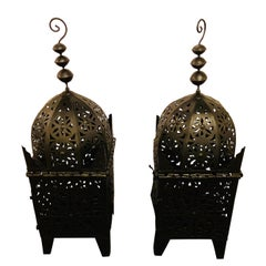 Garden Floor Lantern or Candleholder in Black, a Pair