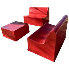 Garden Furniture in Red Lacquered Fiberglass, France, 1970