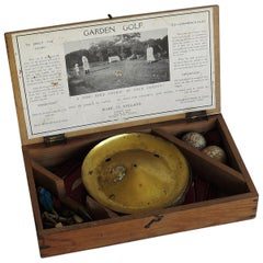 Garden Golf Game 9 Hole Set in Lidded Wood Box, Early 20th Century
