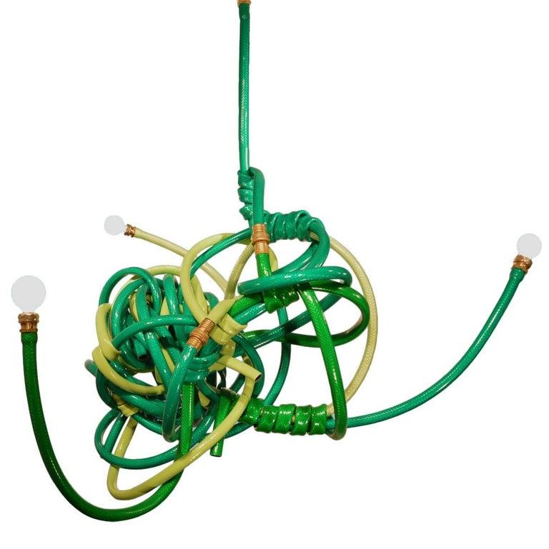 Green Garden Hose Chandelier Style Lighting Fixture For Sale