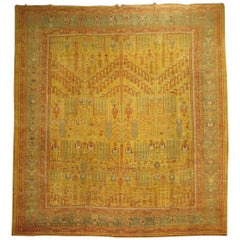 Garden of Paradise Willow Tree Antique Oushak 20th Century Oversize Rug