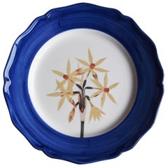 Garden of the Sultan Hand Painted Ceramic Plate Made in Italy Blue