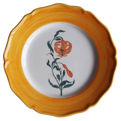 Garden of the Sultan Hand Painted Ceramic Plate Made in Italy Orange
