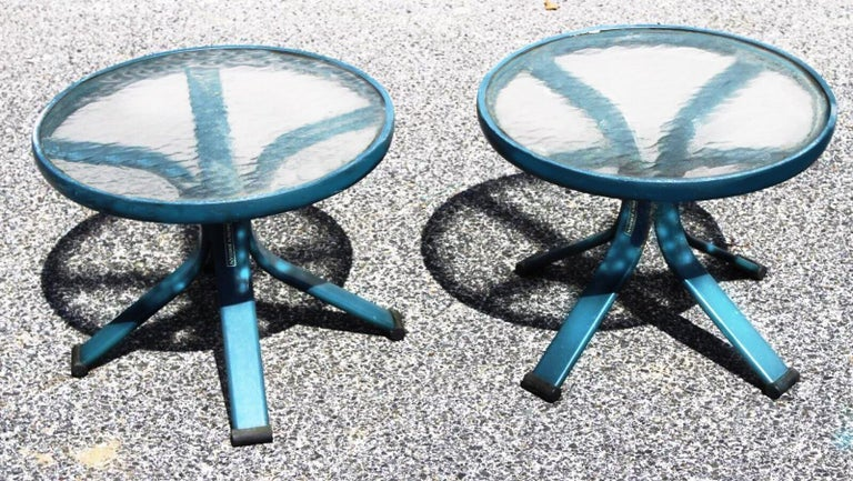 Award winning Richard Frinier designed this outdoor side table and cart set for Brown Jordan, circa 1980s. Cast aluminium and tempered glass. Primarily for outdoor use but certainly stylish enough for indoors.   Age and use appropriate patina and