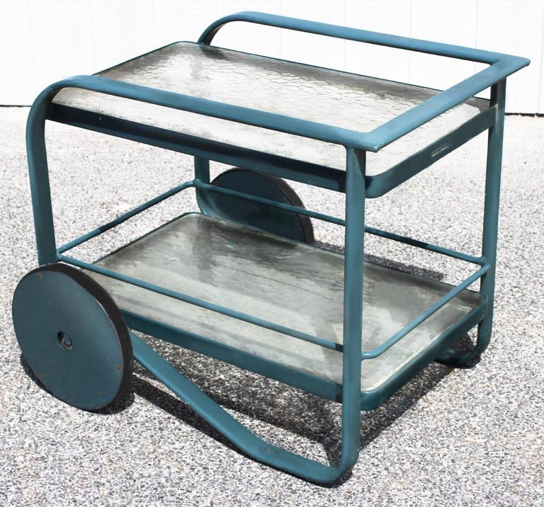Post-Modern Garden Patio Bar Cart and Side Table Set by Richard Frinier for Brown Jordan For Sale