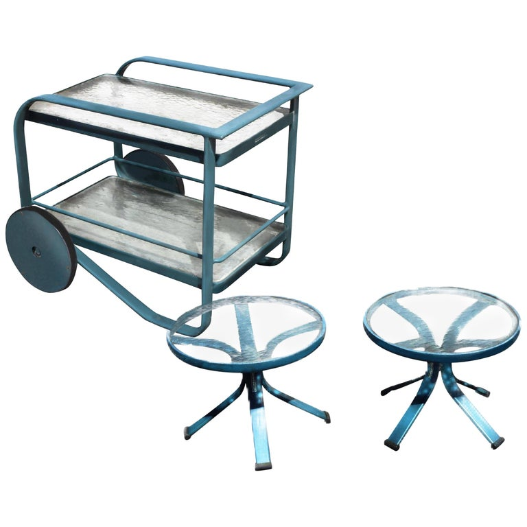 Garden Patio Bar Cart and Side Table Set by Richard Frinier for Brown Jordan For Sale