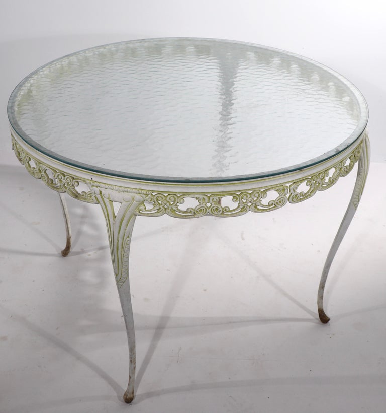 Garden Patio Glass Top Metal Base Cafe Dining Table For Sale 2