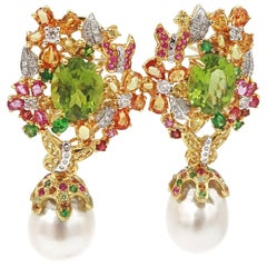 Garden Peridot Yellow Pink Orange Sapphire Diamond South Sea Pearl Gold Earrings