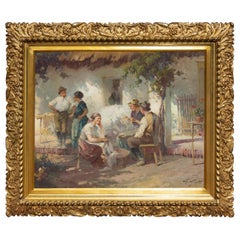 Garden Scene Oil Painting in Gilt Frame, Early 20th Century