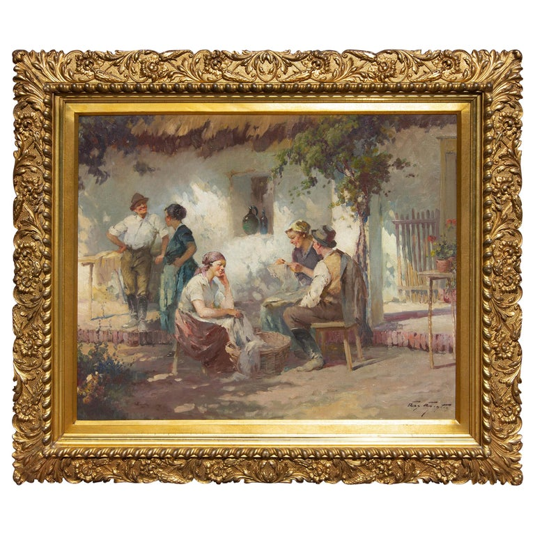 Garden Scene Oil Painting in Gilt Frame, Early 20th Century For Sale