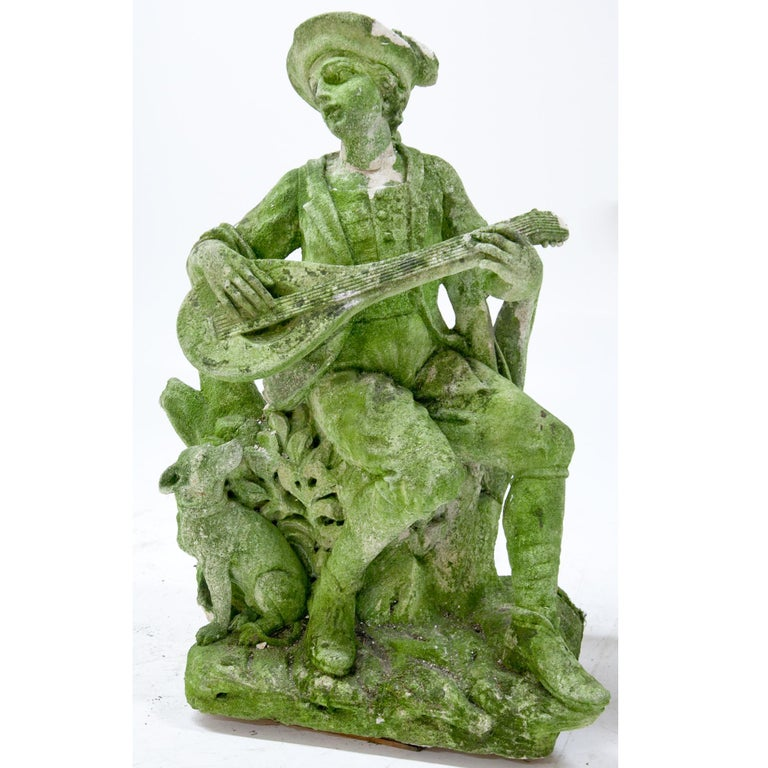Italian Garden Sculpture of a Musician, prob. Italy, 20th Century For Sale