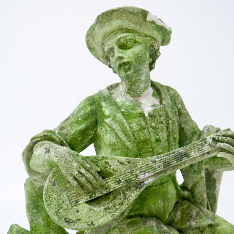 Hand-Carved Garden Sculpture of a Musician, prob. Italy, 20th Century For Sale