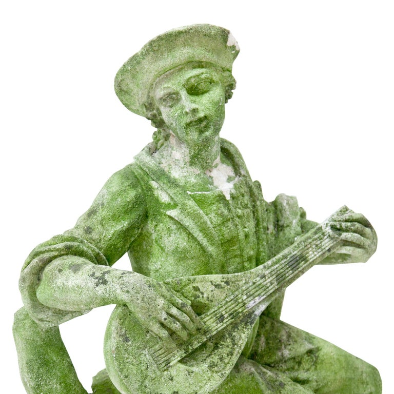 Stone Garden Sculpture of a Musician, prob. Italy, 20th Century For Sale