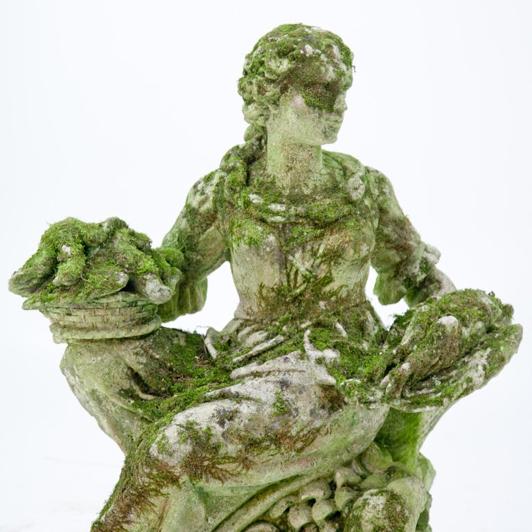 Italian Garden Sculpture of a Poultry Seller, prob. Italy, 20th Century For Sale