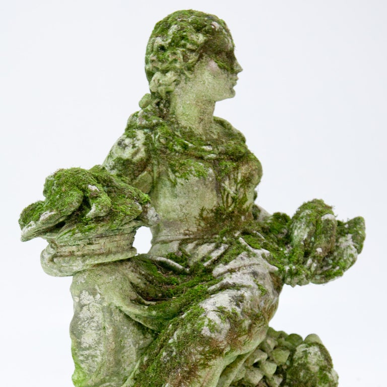 Stone Garden Sculpture of a Poultry Seller, prob. Italy, 20th Century For Sale