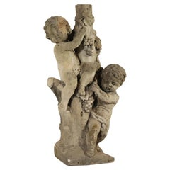 Garden Sculpture with Two Putti, Stone, Italy, 19th Century