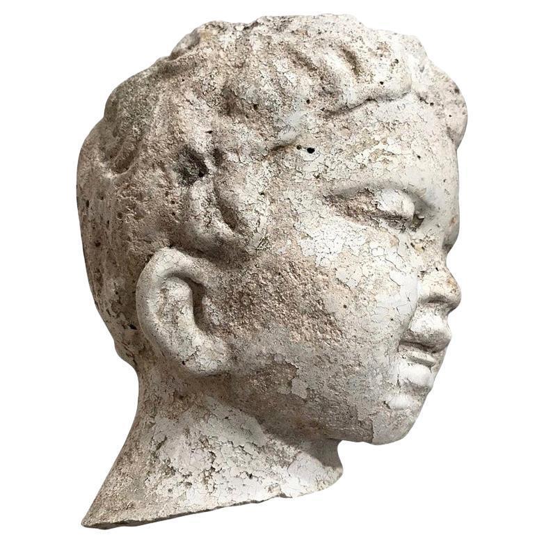 Garden Statue Fragment of Boy in Cast Stone, France, circa 1980's