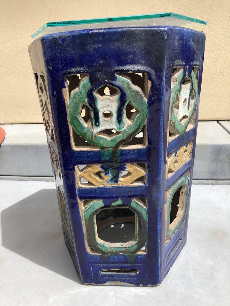 Garden Stool Blue Chinese Glazed Ceramic Porcelain Outdoor