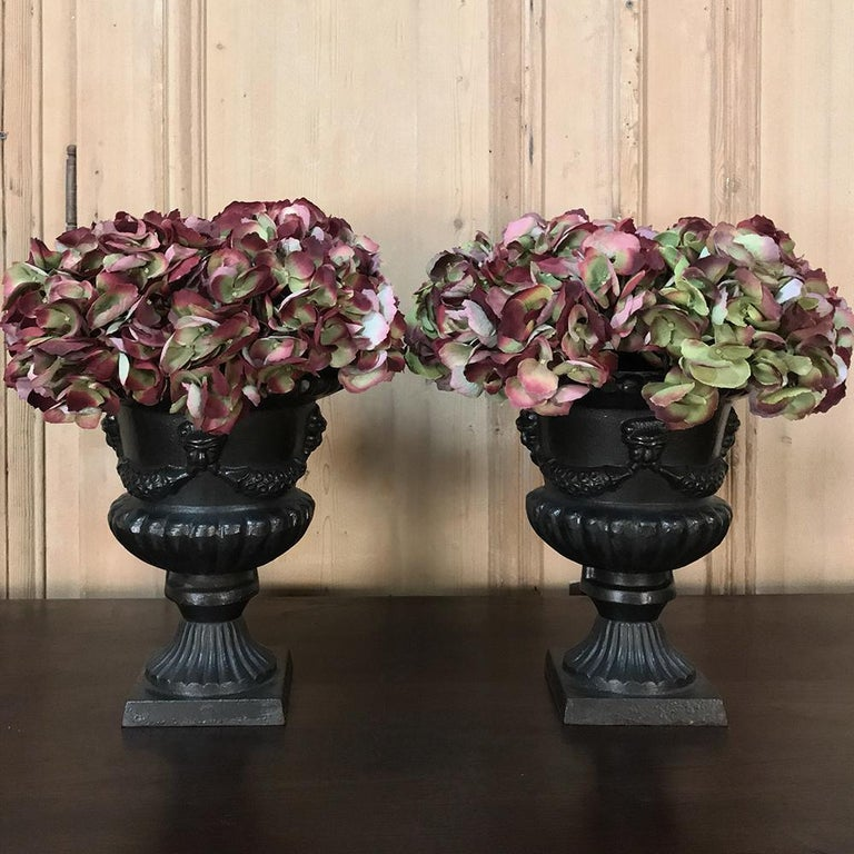 French Garden Urns, Pair 19th Century Neoclassical in Cast Iron For Sale