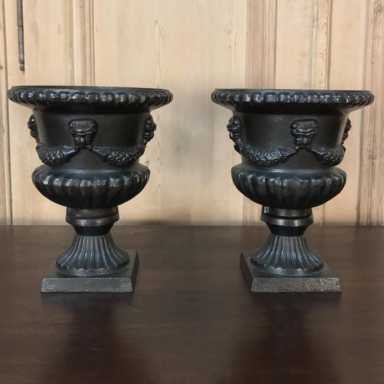 Garden Urns, Pair 19th Century Neoclassical in Cast Iron In Good Condition For Sale In Dallas, TX