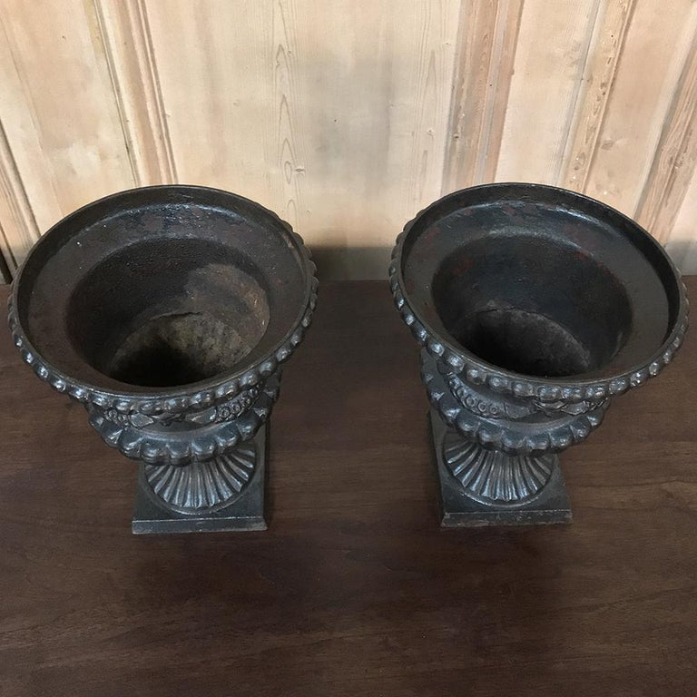 Late 19th Century Garden Urns, Pair 19th Century Neoclassical in Cast Iron For Sale