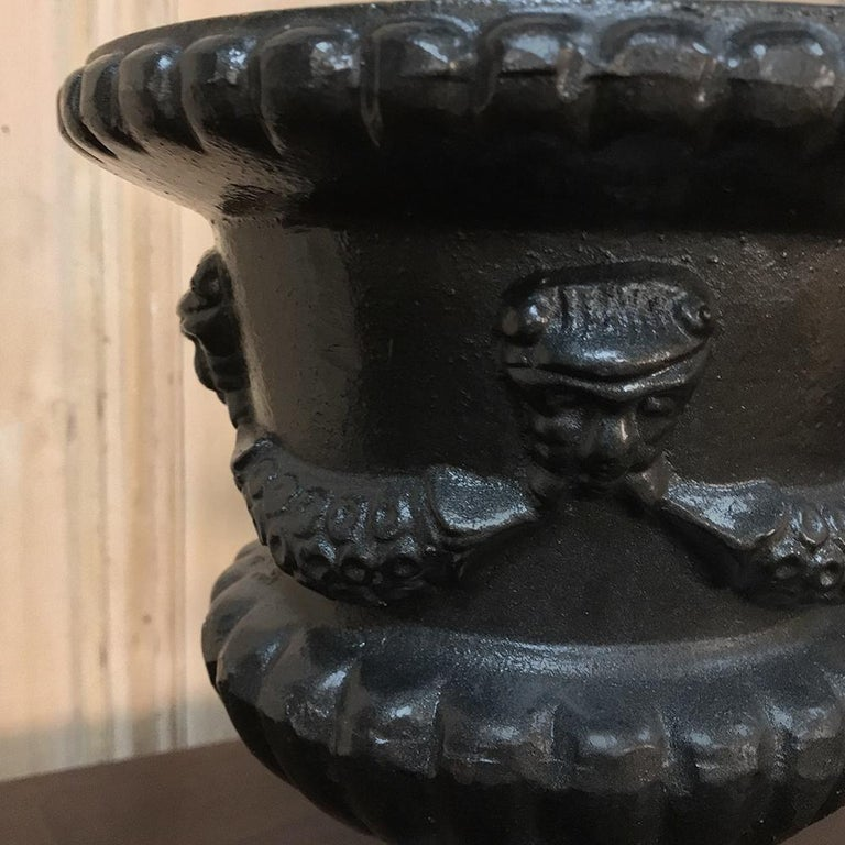 Garden Urns, Pair 19th Century Neoclassical in Cast Iron For Sale 1