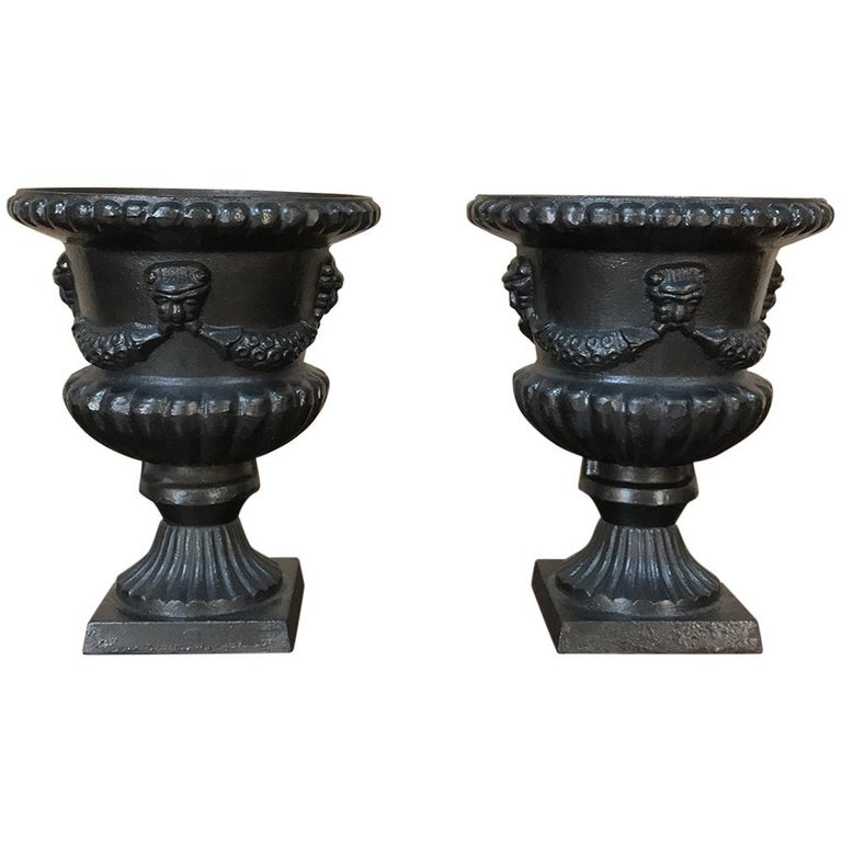 Garden Urns, Pair 19th Century Neoclassical in Cast Iron For Sale