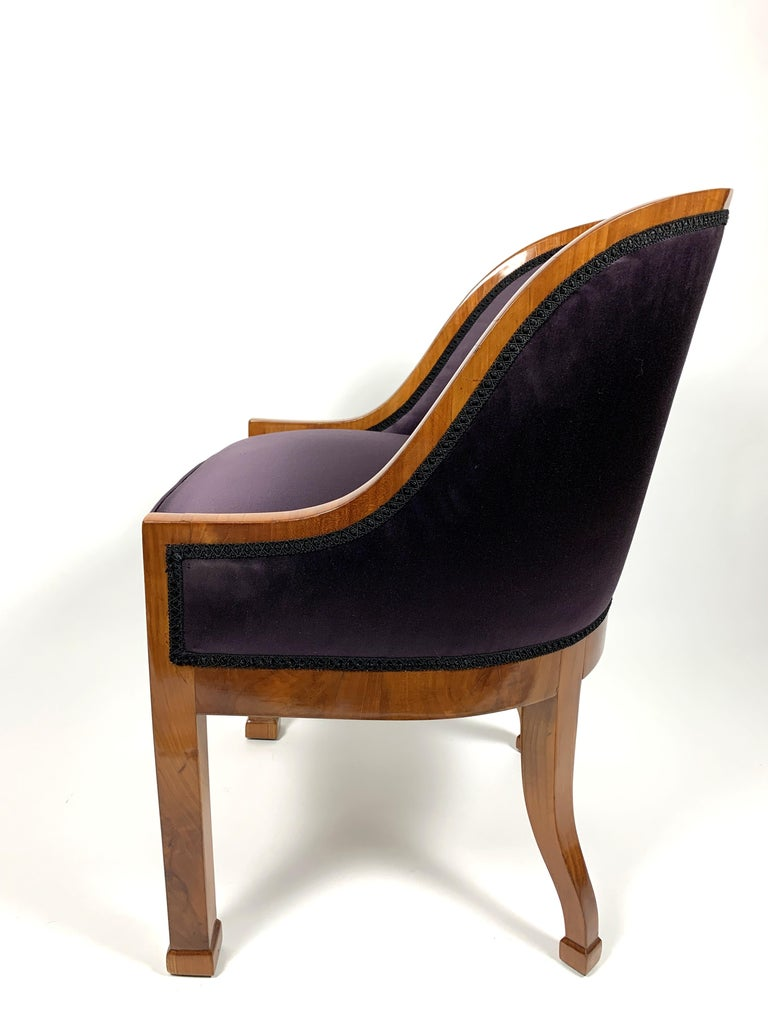 Garderobe Armchair with Purple Silk Fabric, 1900s For Sale 4