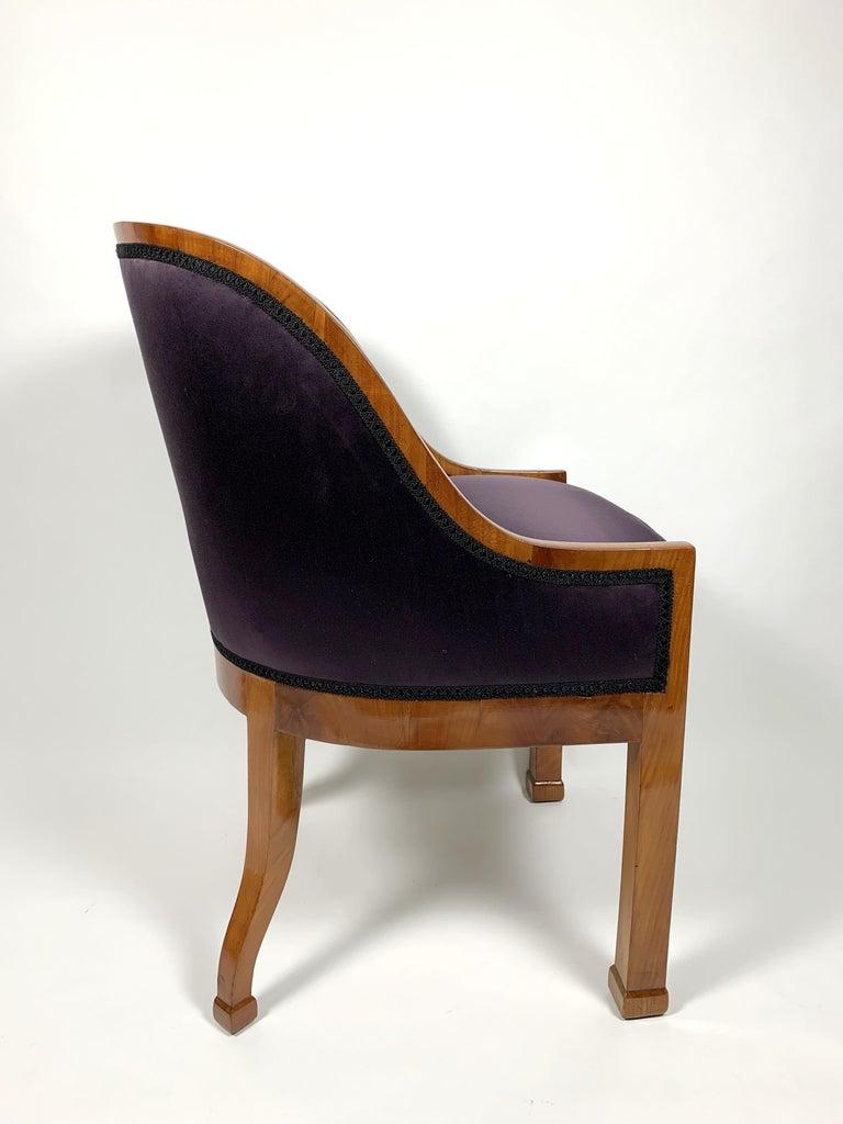 Biedermeier Garderobe Armchair with Purple Silk Fabric, 1900s For Sale
