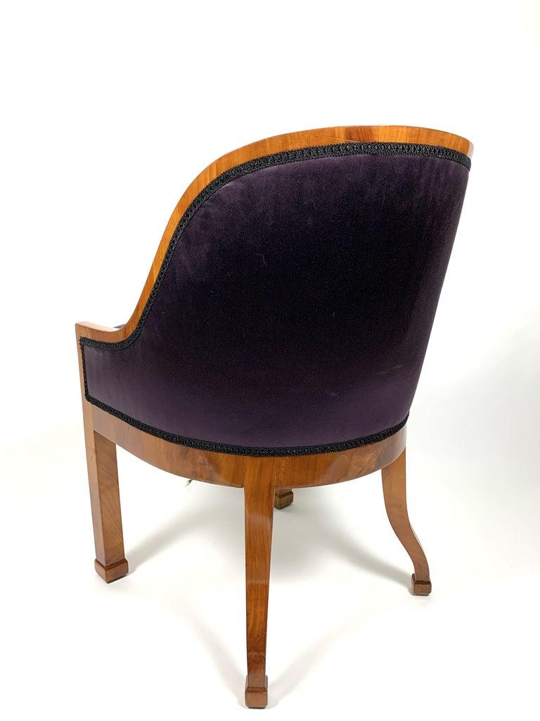 European Garderobe Armchair with Purple Silk Fabric, 1900s For Sale