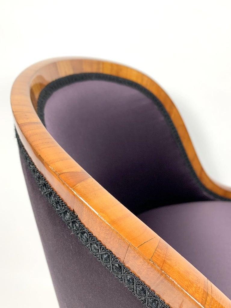 Garderobe Armchair with Purple Silk Fabric, 1900s For Sale 1